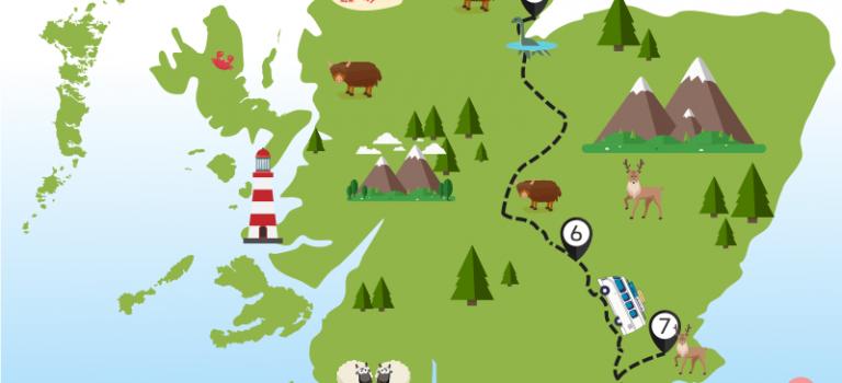 Carte Le Nord-Est de l'Ecosse en van